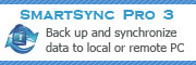 SmartSync Pro is a universal solution to back up and synchronize data to a local or external drive (Flash/USB/ZIP, CD/DVD, NAS etc) or even remote PC.